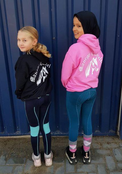 Hoodie Zwart / Roze Kids M